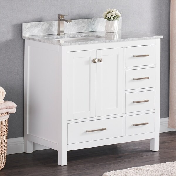 Luende 36 inch Wood Single Sink Bathroom Vanity Set with Carrara Marble Top