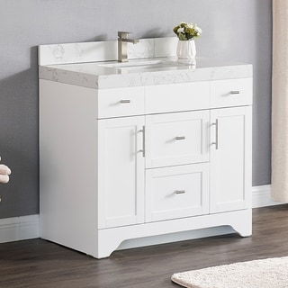 Luende 36 inch Wood Single Sink Bathroom Vanity Set with Carrara Quartz Top