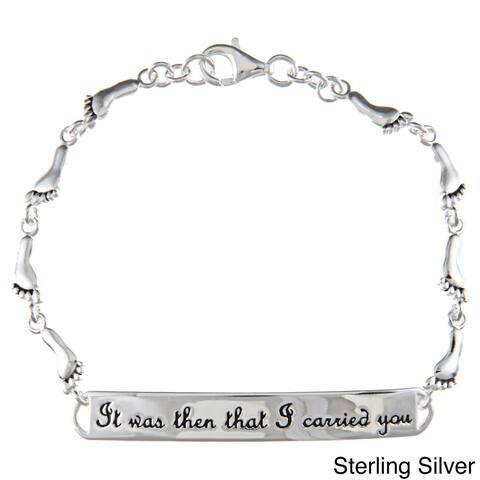 Mondevio Sterling Silver Inspirational Footprint Bracelet