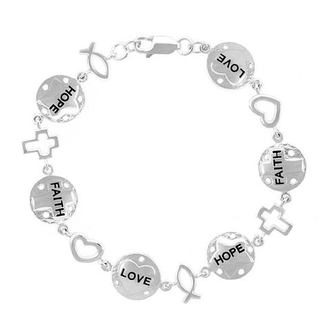 Mondevio Sterling Silver Religious Inspirational Bracelet