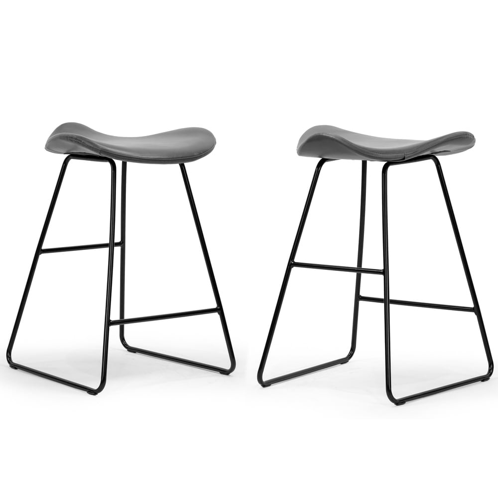Glamour Homeset Of 2 Aoi Grey Faux Leather Backless Counter Stool With Black Metal Legs Dailymail