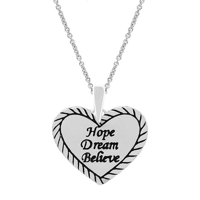 Mondevio Sterling Silver Inspirational Heart Necklace