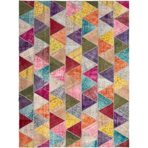 "Hand-knotted Color Patchwork Multi Color Wool Rug - 10'1"" x 13'2"""