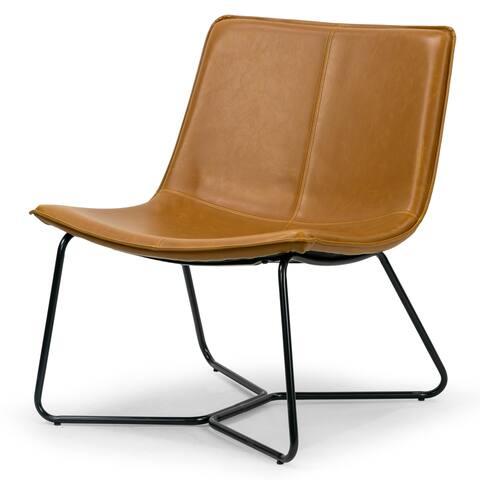 Carbon Loft Dik Light Brown Faux Leather Accent Chair with Metal Legs