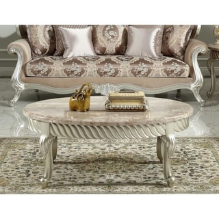 Best Master Furniture Silver Gold Oval Marble Coffee Table