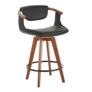 Link to Oracle Mid-Century Modern Counter Stool in Faux Leather & Walnut Wood - N/A Similar Items in Dining Room & Bar Furniture