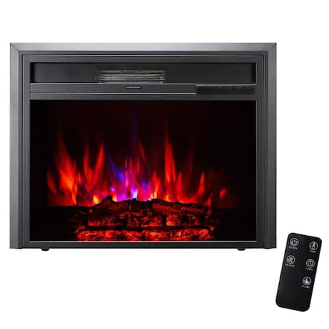 XBrand Insert Fireplace Heater w/Remote Control and LED Flame Effect, 28 Inch Long, Black