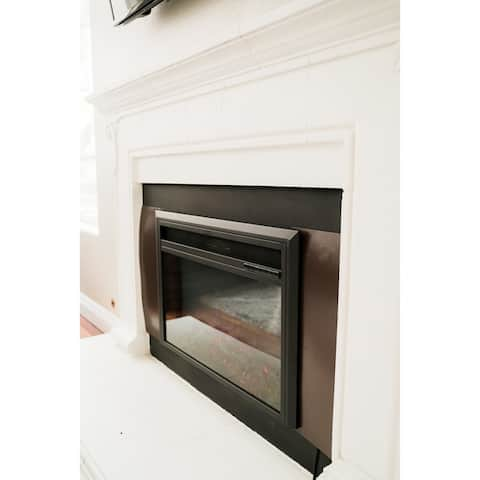 XBrand Insert Fireplace Heater w/Remote Control and LED Flame Effect, 32 Inch Long, Black