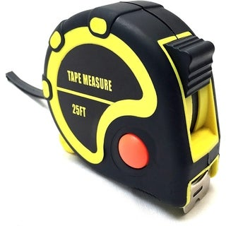 25 Foot Rubberized Tape Measure with Quick Stop Button - black yellow red