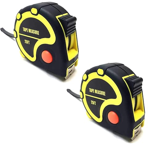 25 Foot Rubberized Tape Measure with Quick Stop Button, 25 feet by 1 inch