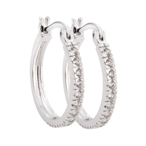 Classic Silver Hoop Cubic Zirconia Earrings by Simon Frank Designs
