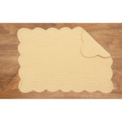 Quilted Reverisble Solid Placemat Set of 6 - 13 x 19