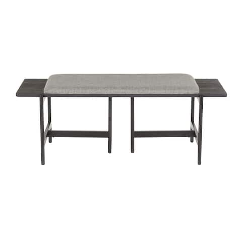 Chloe Contemporary Bench with Upholstered Seat & Wood Accent - N/A