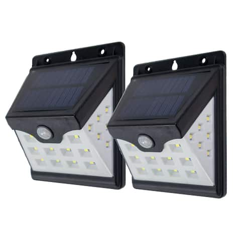 2pc - 22 LED Solar Motion Security Sensor Lights With Side LEDs - Wireless Waterproof Outdoor Light With Auto On/Off - N/A
