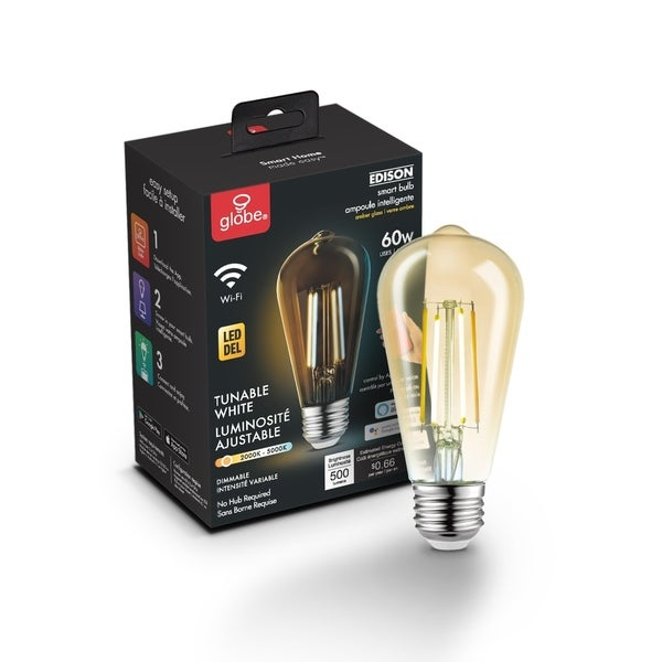 Wi-Fi Smart Vintage Filament Tunable Amber Glass LED Bulb ST19 E26 - Clear. Opens flyout.