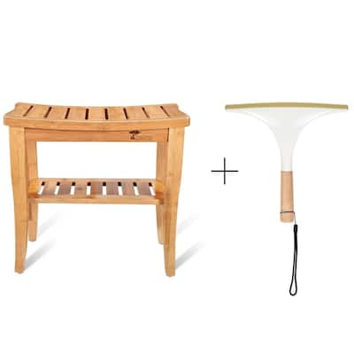 ToiletTree Products Deluxe Wooden Bamboo Shower Seat Bench with Underneath Storage Shelf (Seat with Squeegee)