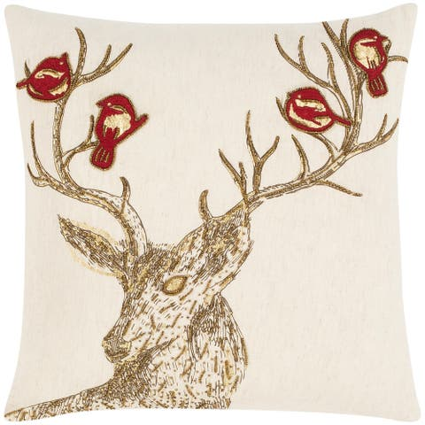 Rosie Embroidered Winter Deer 20-inch Throw Pillow Cover