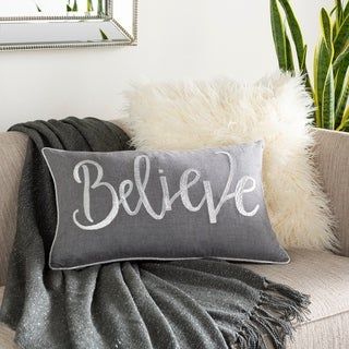 """Ani """"Believe"""" Embroidered 14x22-inch Lumbar Throw Pillow Cover"""