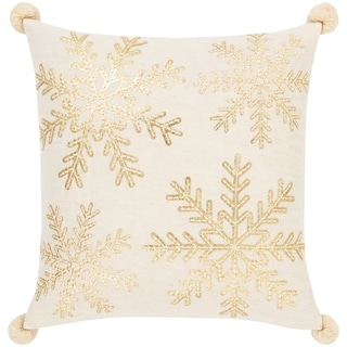 Tahlia Snowflake Embroidered 20-inch Throw Pillow Cover