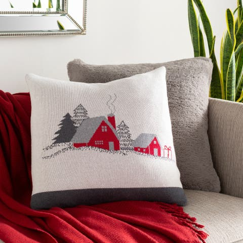 Valencia Knitted Christmas Cottage 18-inch Down or Poly Throw Pillow