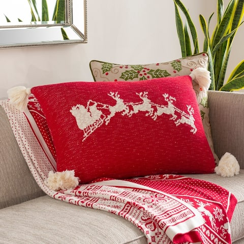 Evelyn Knitted Santa's Sleigh 18-inch Throw Pillow Cover