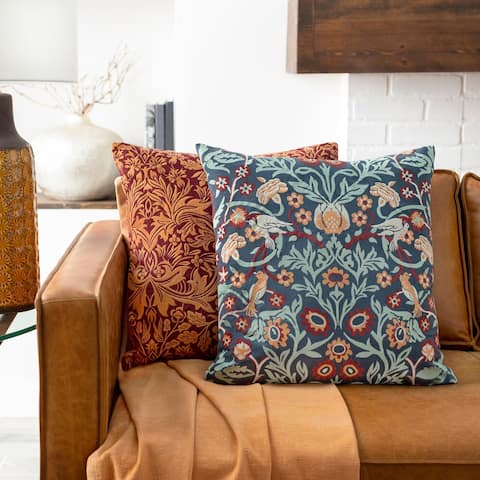 Storey Floral Embroidered Throw Pillow Cover