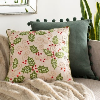 Leia Beaded Holly Leaf 20-inch Down or Poly Fill Throw Pillow