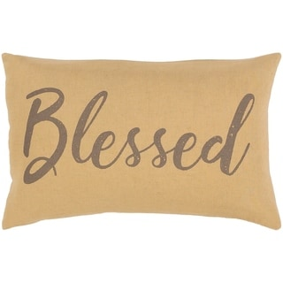 "Brighton Neutral ""Blessed"" 13x20-inch Down or Poly Lumbar Throw Pillow"