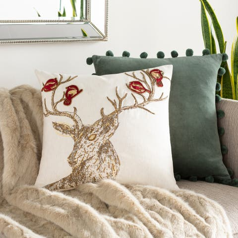 Rosie Embroidered Winter Deer 20-inch Down or Poly Throw Pillow