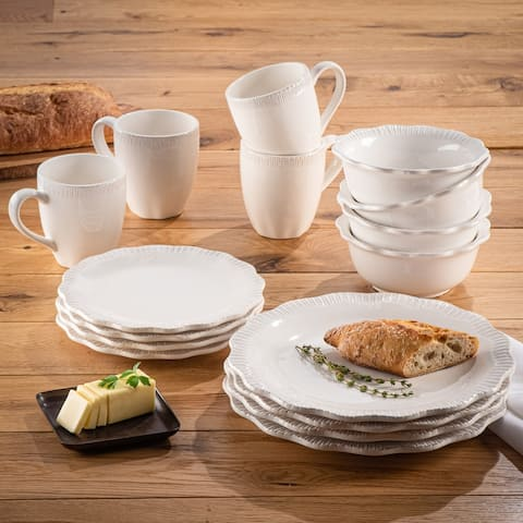 American Atelier Bianca Scallop Flute Ceramic 16-Piece Dinnerware Set, Service For 4