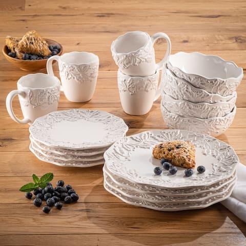 American Atelier Bianca Holly White Stoneware 16-Piece Dinnerware Set, Service For 4