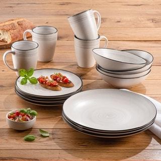 ELLE Whitestone Stoneware 16-Piece Dinnerware Set, Service For 4