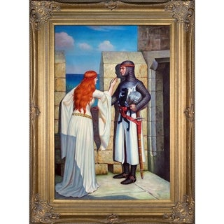 "Link to La Pastiche by overstockArt The Shadow, 1909 by Edmund Leighton with Renaissance Frame, 46"" x 34"" Similar Items in Canvas Art"