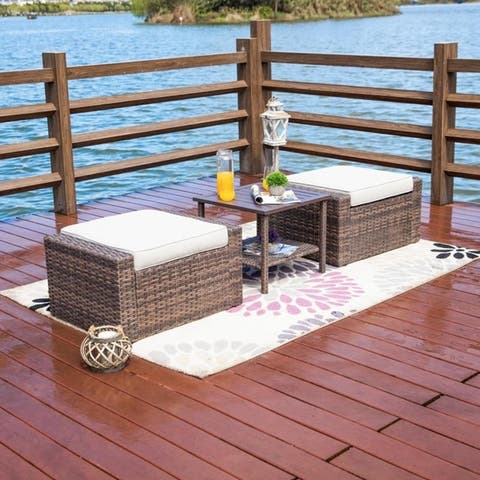 3-Piece Outdoor Ottoman Side Table Set