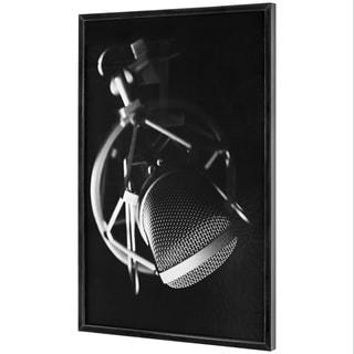 "Vintage Microphone Black and White Framed Photo Art Print (37"" x 25"")"