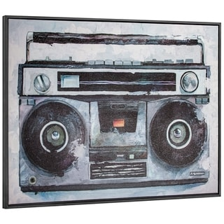 Porch & Den Vintage Boombox' Canvas Art Print with Floating Frame