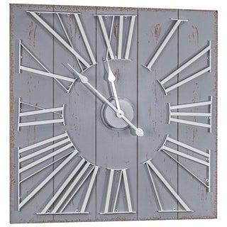 "Oversized Shiplap Wall Clock - Grey (27"" x 27"")"