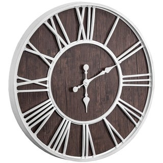 "Link to Oversized Wall Clock - White/Dark Brown Wood Veneer - 30"" Similar Items in Decorative Accessories"
