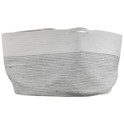 """Woven Cotton Basket with Handles - 15"""" x 20"""" (Large)"""