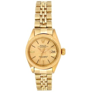 Pre-owned 26mm Vintage Rolex 14k Yellow Gold Datejust Watch