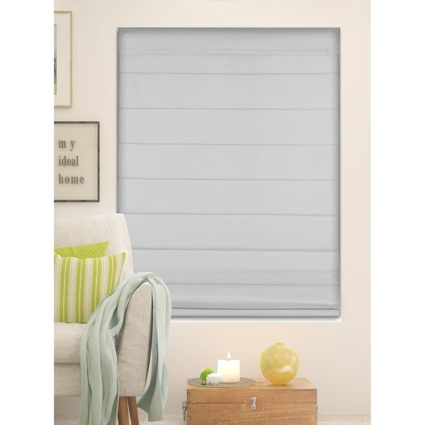 Arlo Blinds Gray Room Darkening Cordless Lift Fabric Roman Shades. Opens flyout.