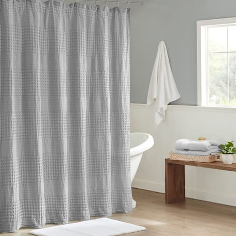 Madison Park Eider Super Waffle Textured Solid Shower Curtain