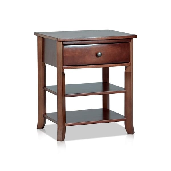 Traditional Style Wooden Nightstand with Two Open Shelves, Brown