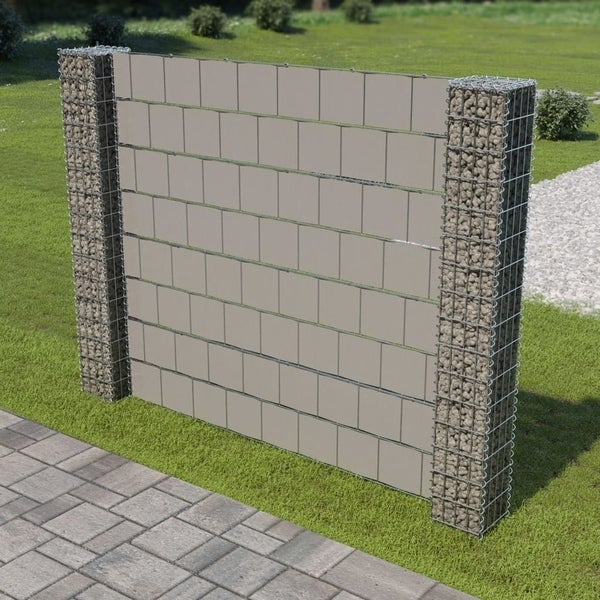 """Gabion Fence with 2 Posts Galvanized Steel and PVC 70.9""""x70.9"""""""