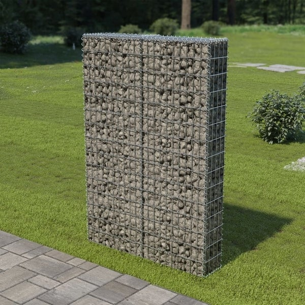 """Gabion Wall with Covers Galvanized Steel 39.4""""x7.87""""x59"""""""