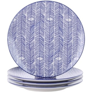 Link to Porcelain Dessert Plates, 4-Piece Blue Patterned Dinner Plates Similar Items in Dinnerware