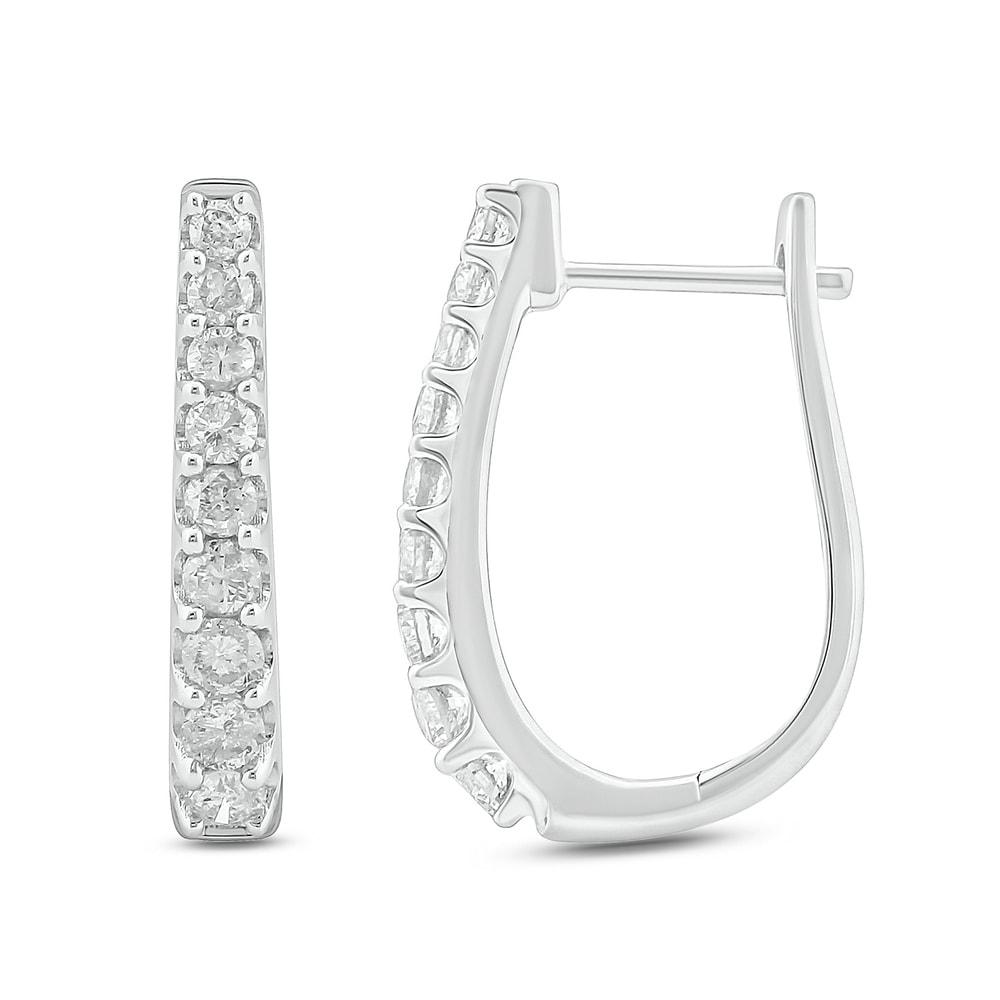 10k Yellow Gold Round Channel-set Diamond Womens Simple Milgrain-accent Hoop Earrings 1//4 Cttw