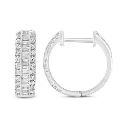 Cali Trove 10KT White gold with 1/2 ct TDW Hoop Earring.