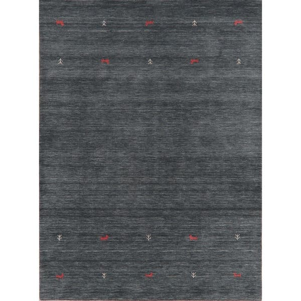 Contemporary Charcoal Little Animals Nomadic Gabbeh Oriental Area Rug 5 9 X 7 9 On Sale Overstock 30090690