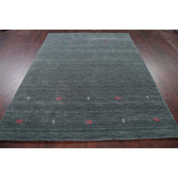 Soft Charcoal Contemporary Gabbeh Little Animal Area Rug Wool Handmade 5 9 X 7 8 On Sale Overstock 30090694
